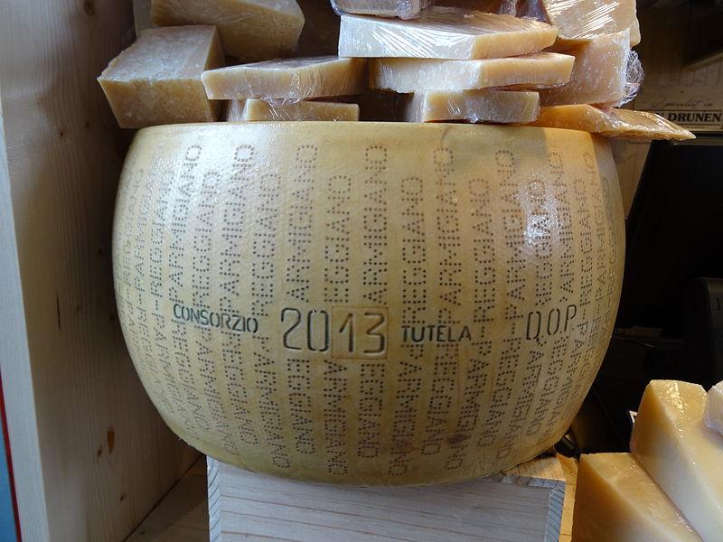 A wheel of Parmigiano-Reggiano. Photo: Bic via Wikimedia Commons