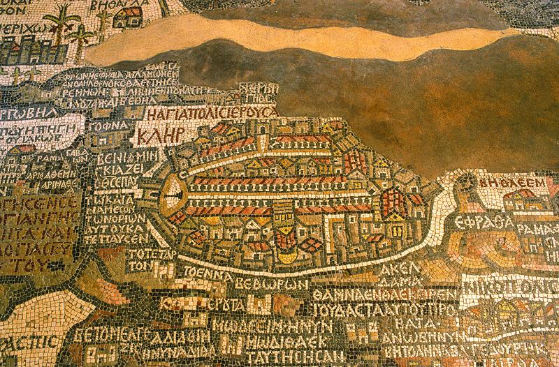 Close up of the Madaba Map. Photo by JoTB via Wikimedia Commons